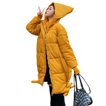 New Fashion women 2019 Arrival Solid Slim Long Size For Womens Cotton Down Parka With Hooded Winter Jacket