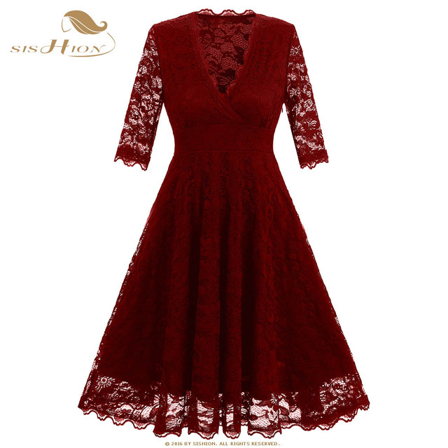9c32fbeba5384 SISHION Sexy Lace Dress Half Sleeve High Waist Deep V Neck Black Dark Blue  Wine Red Party Swing Dresses VD0666