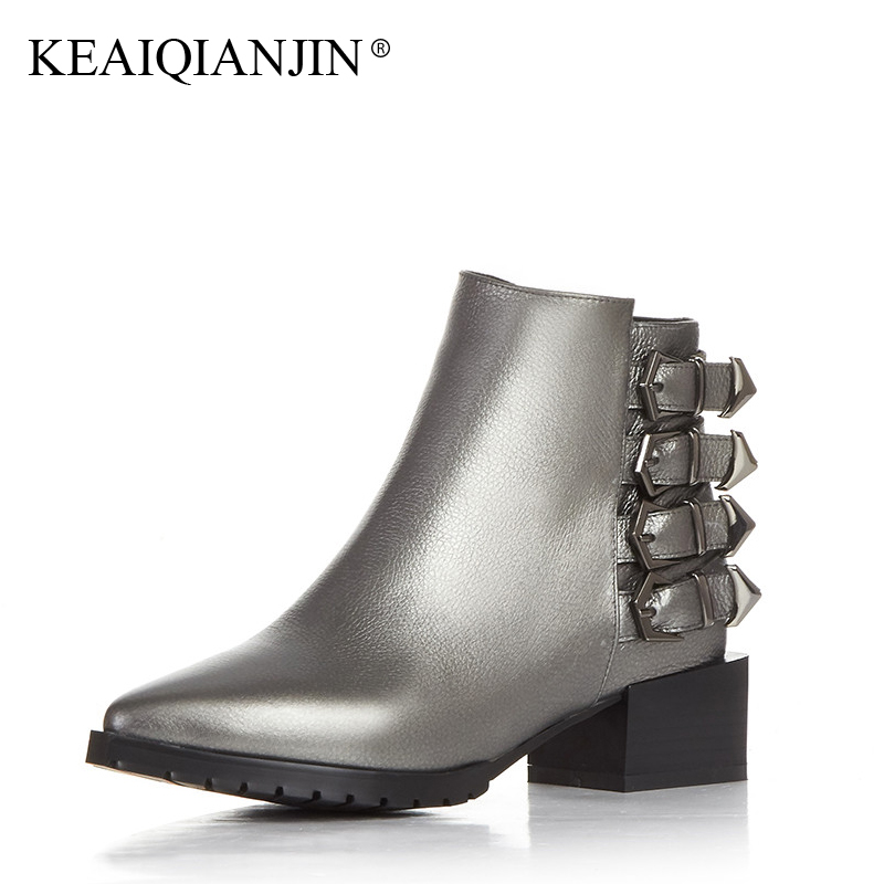 KEAIQIANJIN Woman High Heels Ankle Boots Autumn Winter Black Silver Plus Size 33 - 44 Shoes Genuine Leather Ladies Martens Boots women boots plus size 35 43 genuine leather autumn winter ankle boots black wine red shoes woman brand fashion motorcycle boot