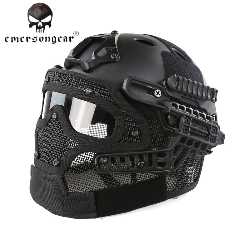 Emerson G4 System PJ Tactical Helmet with All Round Protecting Goggle Face Mask Airsoft Paintball Combat Capacete Casco Ciclismo airsoft paintball tactical helmet protective fast helmet abs tactical mask with goggles cs equipment