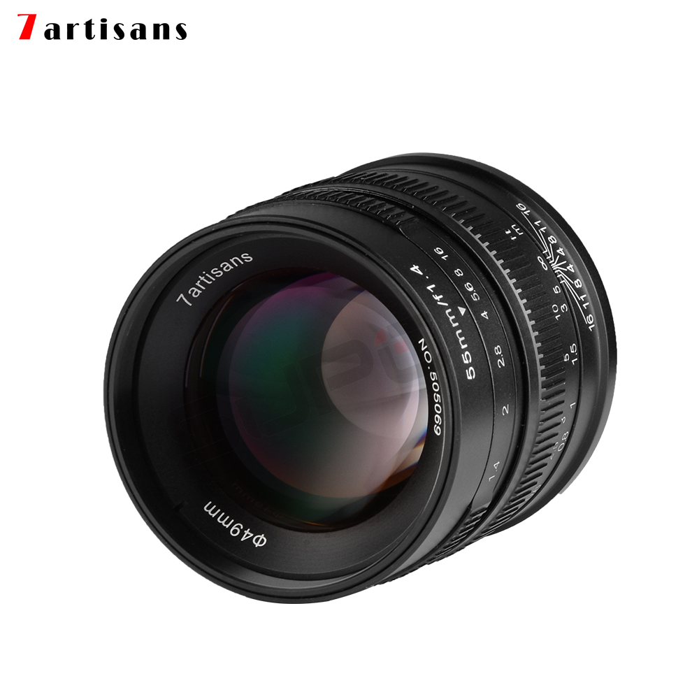купить 7artisans 55mm/f1.4 Large Aperture Portrait Black Manual Fixed camcorders professional Lens for Fujifilm FX mount X-Pro2 T10 T2 онлайн