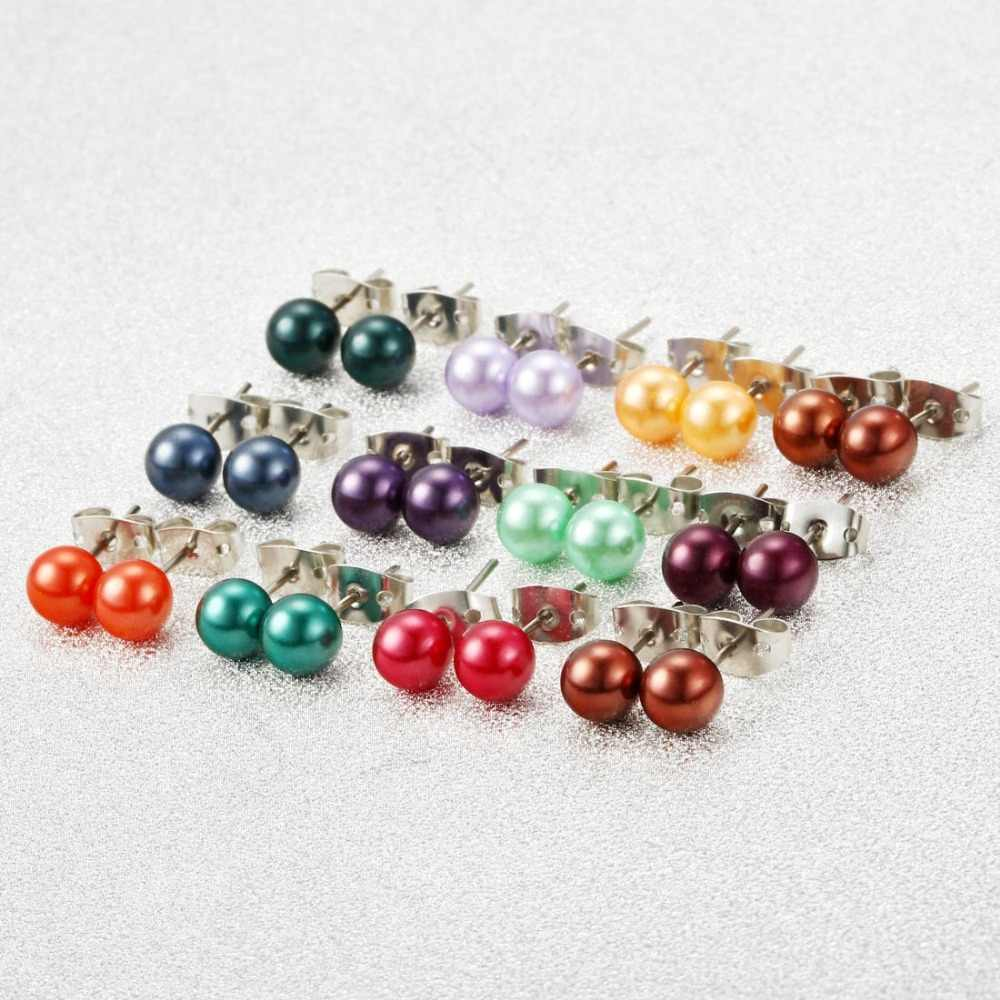36 Pairs Sets Round Ball Stud Earrings Colorful Simulated Pearl Earrings For Women Hot-selling Cute Silver Plated Stud Earring