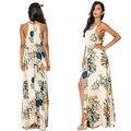 Venda quente de Verão 2015 Estilo Moda Praia Casual Vestido Elegante Das Senhoras Das Mulheres Flor Impressão Boêmio Divisão Vestidos de Algodão