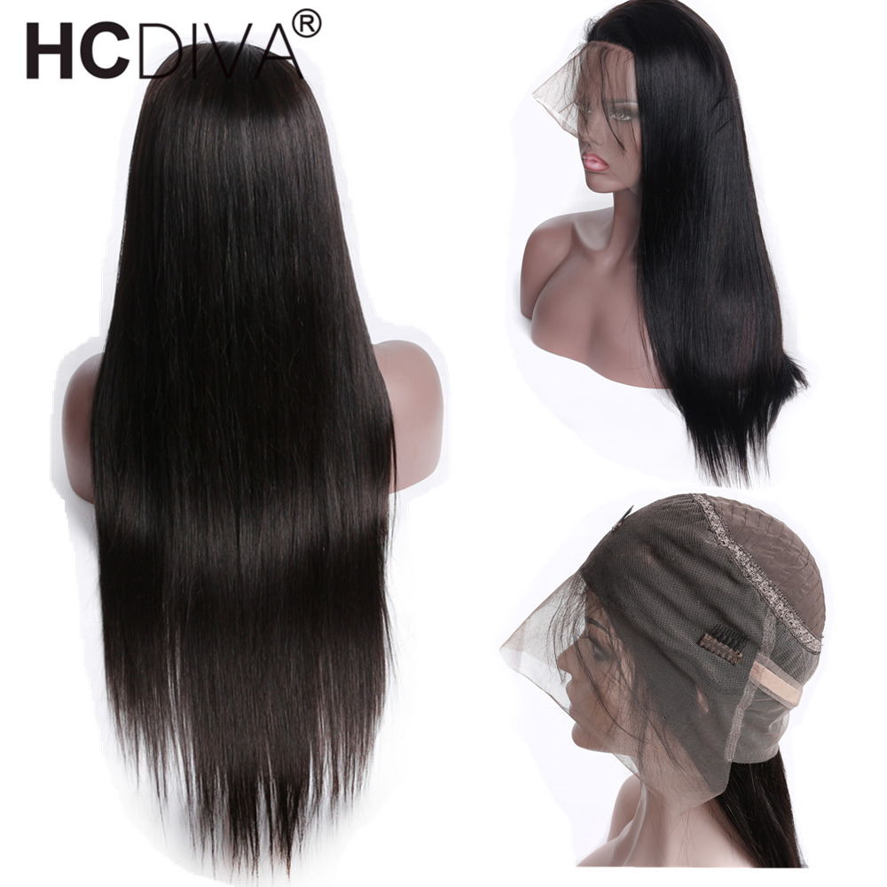 360 Wigs Lace Frontal Human Hair Wigs Per Plucked Natural Hairline black Color For Woman Non-Remy Brazilian Wigs HCDIVA Hair