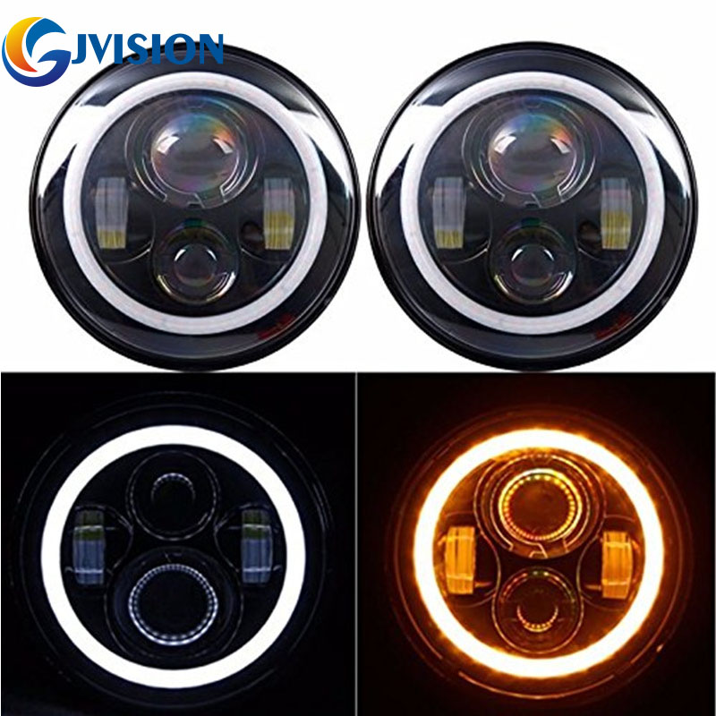 Pair 40W 7 INCH Round led headlight Bulb Yellow Signal & White DRL Halo Angle eyes High/Low Beam for Jeep Wrangler JK LJ TJ