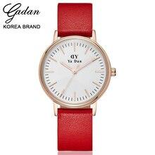 YADAN Tendência Relógios de Marca Senhoras Relógio Clássico Quente Simples E Elegante de Liga de Alta Qualidade de Couro Mulheres Quartz Relógio de Pulso À Prova D' Água