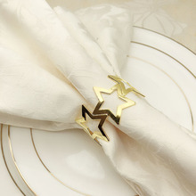 12PCS five-pointed star napkin buckle metal ring gold silver mouth cloth