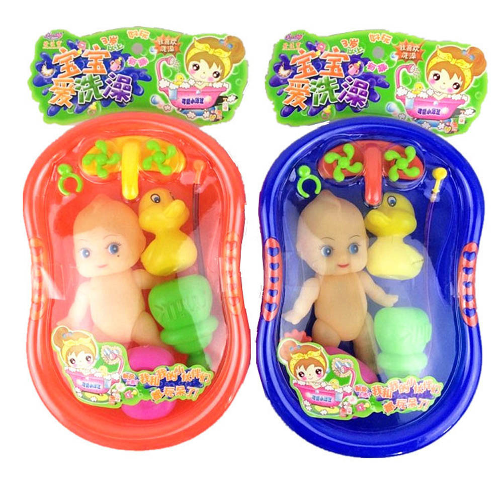 Baby Doll in Bath Toy Tub With Shower Accessories Set Kids ...