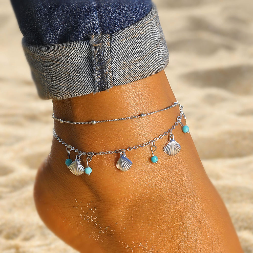 Vintage Silver Color Chain Anklet Bohemian Shell Green Stone Foot Ankle & Bracelet Summer Sandals Legs Women Jewelry Gifts