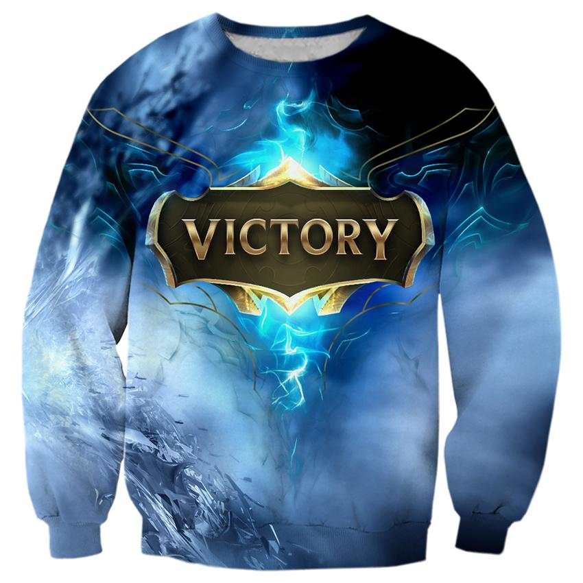 2018 NEW FASHION MEN and WOMEN Blue fire Game Victory 3D Print Sweat shirts Pullovers Tracksuit Streetwear Loose Thin Hoody Tops
