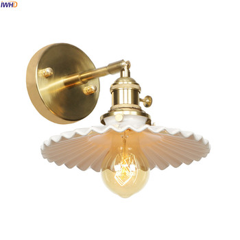 Luz de pared LED de cerámica blanca nórdica, interruptor de luz de pared, escalera de dormitorio, espejo de baño, lámparas de pared de cobre Vintage, aplique de aplique Murale