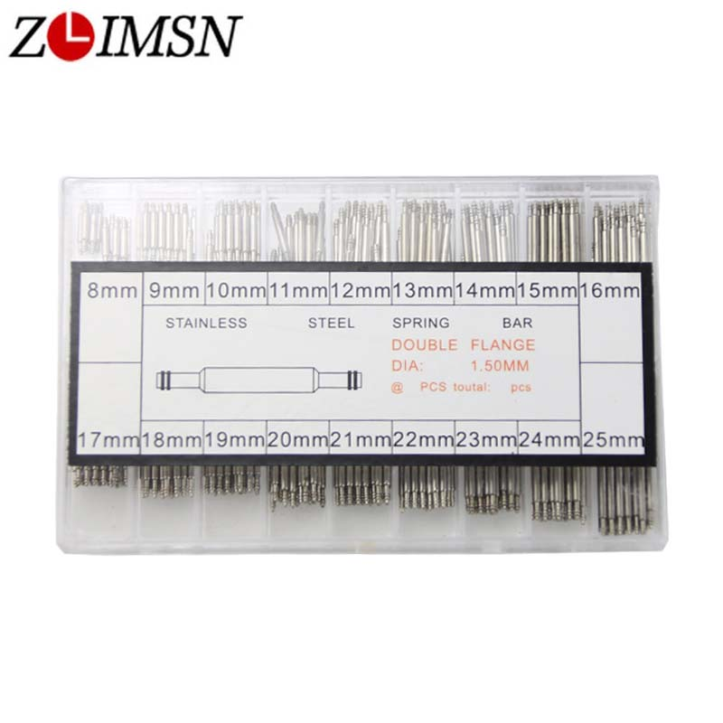 ZLIMSN Assorted Size Spring Bars Wholesale 270pcs for Watchbands Stainless Steel Pin 8mm-25mm Link Pins Watch Accessories m1 5 8 25mm 1pcs watch band spring bars strap link pins repair tool watchmaker stainless steel watch accessories kit set
