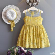 Kinder Mädchen Sommer Kleider Spitze Gelbe Blume Stickerei Mode Sleeveless A-line Casual Druck Oansatz Baby Mädchen Kleid 5ds272