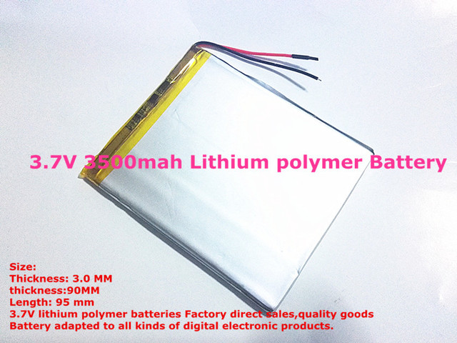 Size 309095 3.7V 3500mah Lithium Tablet polymer battery with Protection Board For PDA Tablet PCs Digital Products Fr