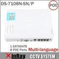 Hik Multi-idioma DS-7108N-SN/P Plug & Play 8CH PoE NVR para la Cámara IP HD con 8 Independiente PoE