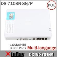 Большой Продвижение новых Многоязычная DS-7108N-SN / Р & Play Подключите 8CH PoE видеорегистратор для IP-камеры HD с 8 независимых PoE