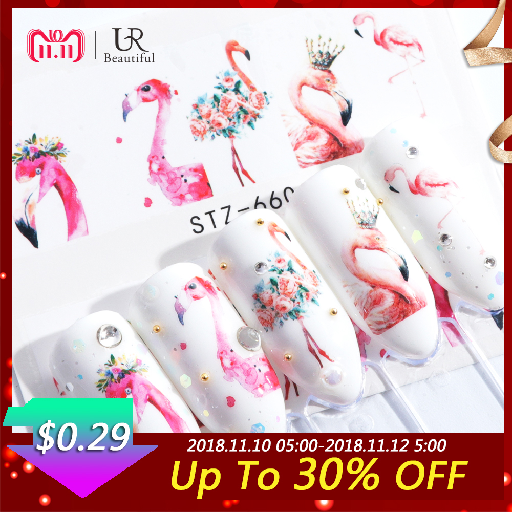1pcs Flamingo Nail Stickers Water Decals Cute Animals Rabbit Owl Wraps Flora Watermark Adhesive Decoration Manicure BESTZ659-673 10 sheets lot charming nail stickers full wraps flowers water transfer nail decals decorations diy watermark manicure tools