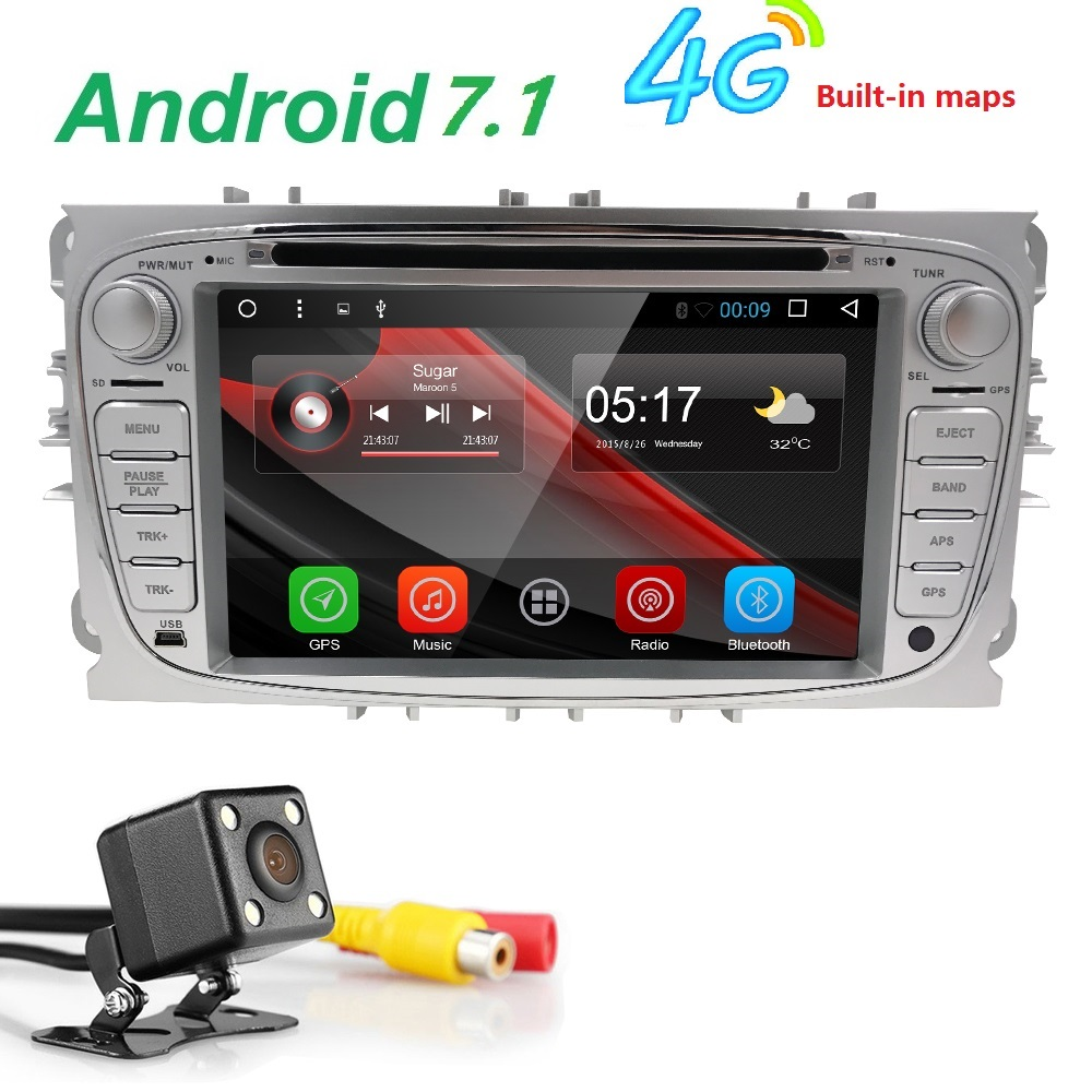 7 inch Android 7.1 Black Car DVD Player For FORD Focus S-MAX Mondeo With Wifi GPS Navi Radio Steering Wheel car monitor 2 DIN BT