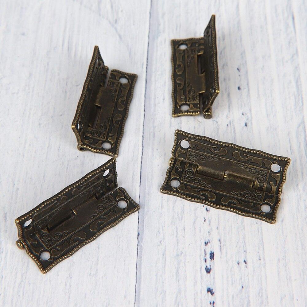 4PCS Antique Bronze Hinges Cabinet Door Drawer Decoration Vintage Hinge For Jewelry Wooden Box Furniture Hardware