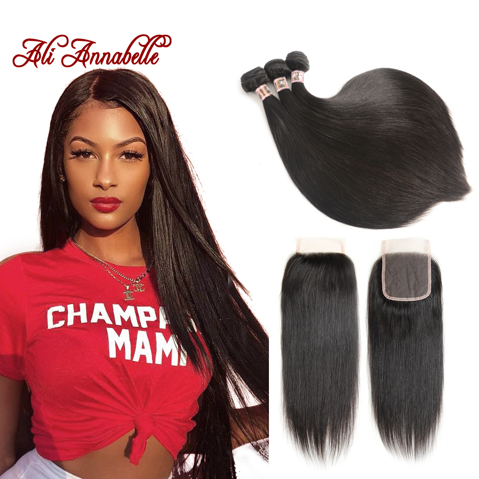 Malaysian Straight Human Hair Bundles with Lace Closure 100 Human Weave Bundles with Middle Free Part