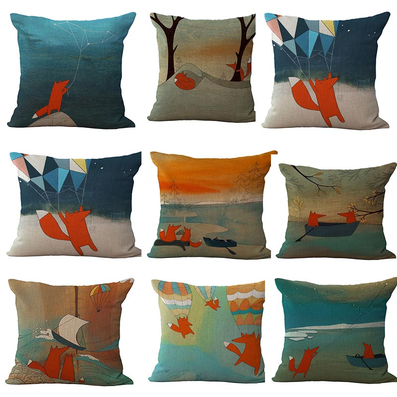 Red Fox Thick flax Throw Pillow Cover 45*45CM Fox Adventure stories series