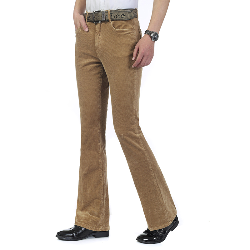 Free Shipping High Quality 2019 New Men's Spring Corduroy Flares Pants Mid Waist Smart Casual Bootcut Trousers Plus Size 27-38 111