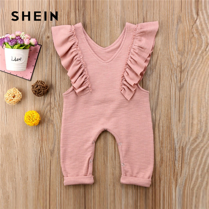 SHEIN Pink Toddler Girls V Neck Frill Trim Solid Ruffle Cute Jumpsuit 2019 Summer Cap Sleeve Long Newborn Baby Clothing plus knot open back ruffle trim bodysuit