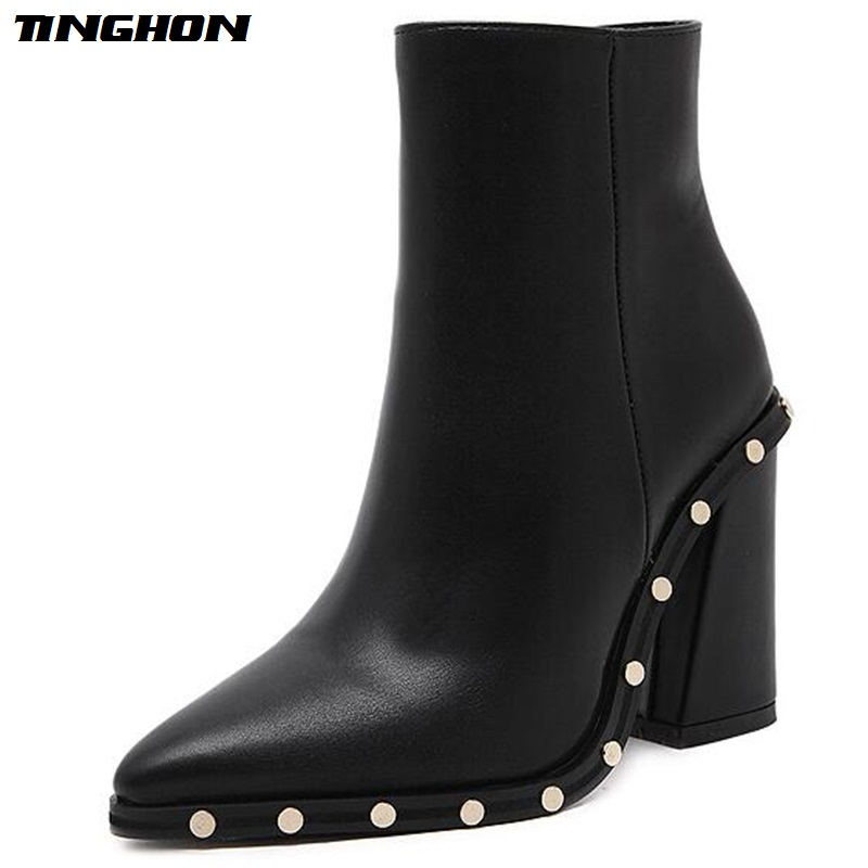 TINGHON Sexy Rivet High Heels Boots Women Pointed Toe Ankle Boots PU leather Zippe Shoes Woman Autumn Winter Booties Black aloeent black ankle boots women high heels pointed toe sexy winter boots woman shoes winter women boots with fur inside