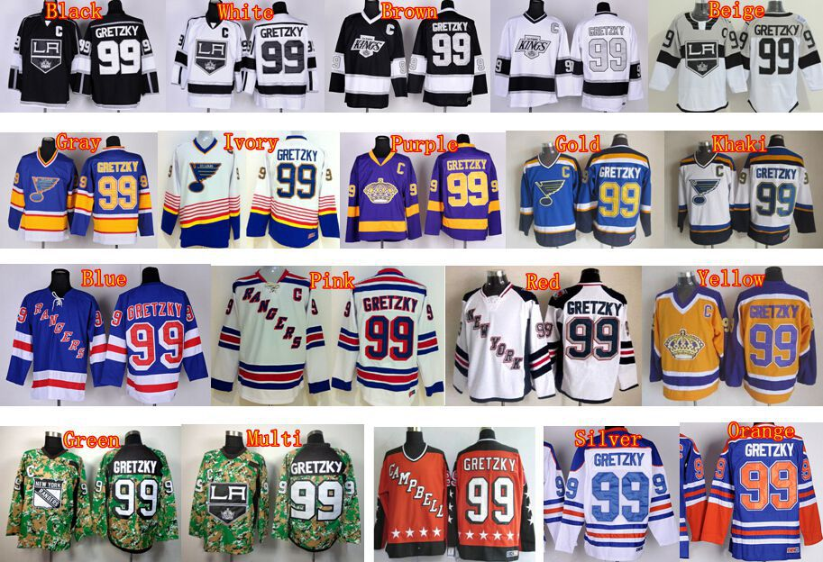 99 Wayne Gretzky Los Angeles Kings Jersey New York Rangers Mens St.Louis  Blues Edmonton Oilers Ice Hockey Jerseys Throwback CCM fed9037494c