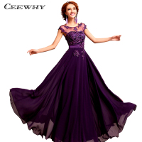 CEEWHY Beading Embroidery Prom Dresses Formal Gowns Wedding Party Dresses Elegant Long A Line Chiffon Bridesmaid Dresses