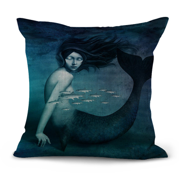 Blue Mermaid Cushion Cover 4