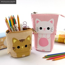 Stationery Pencil-Bag Gift School-Supplies Fabric-Quality Cat Flexible Cute Big