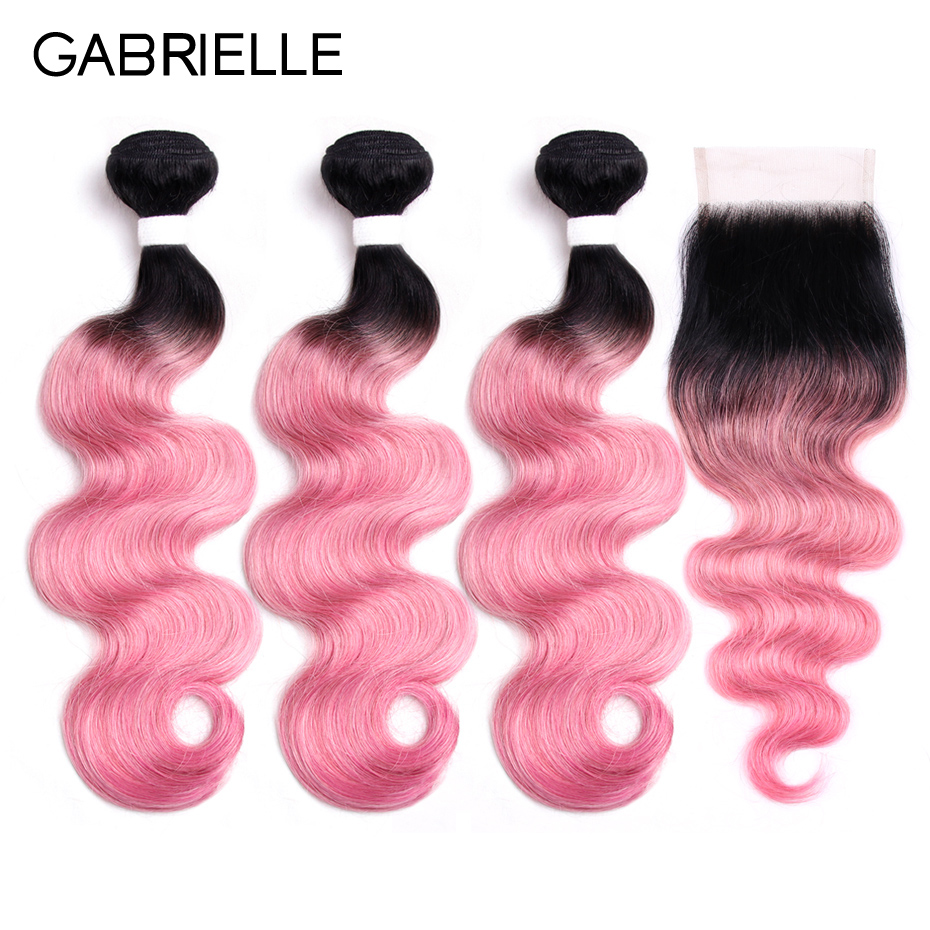 Gabrielle Ombre Bundles with Closure Brazilian Body Wave Hair Bundles with Closure 100% Human Hair Weaving Ot Rose Pink ...