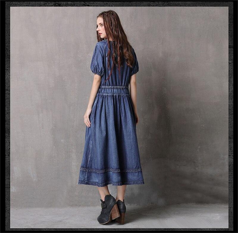 Adjustable Waist Summer Dresses 2019 Vintage Denim Women V-Neck Dress Hollow out  Lantern Sleeve Swing Hem Vestidos (14)