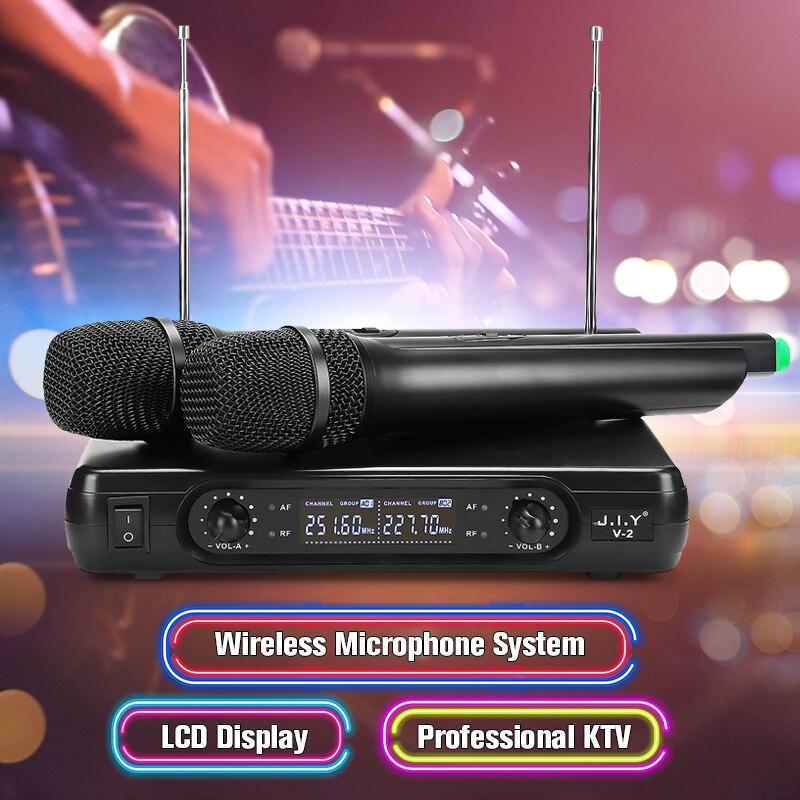 Беспроводной микрофон Системы 2 х микрофоны высококачественный воспроизводить 100 м правда голос сжатия голоса большой диапазон приема