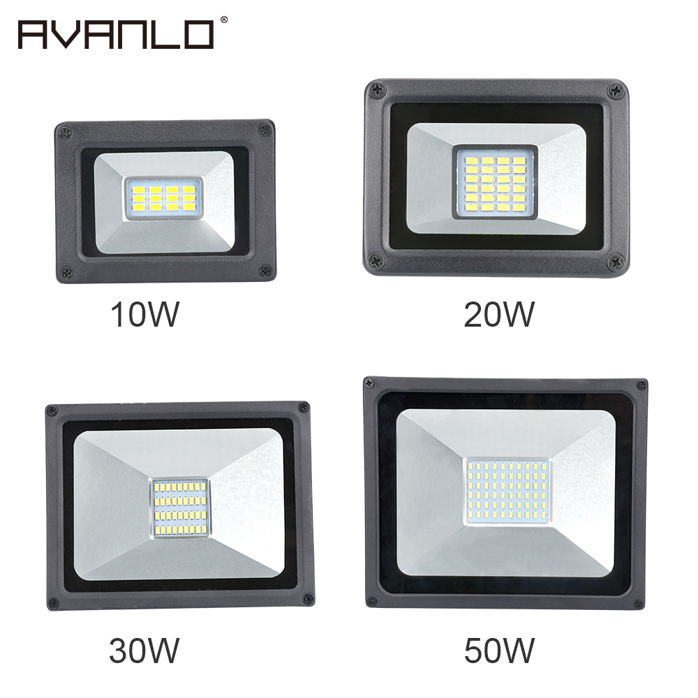 2018 LED Flood Light 50W 110V 220V Floodlight 10W 20W 30W LED Spotlight Reflector LED Outdoor Lighting Garden Lamp Newest