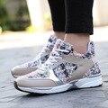 Voga Bordar Mulher Sapatos Casuais 5 CM Vulcanizar Altura Malha Aumentando Couro Genuíno Das Mulheres Sapatos Senhora Apartamentos Mocassins WVS003