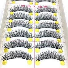 10 pares de pestañas postizas naturales pestañas postizas maquillaje largo pelo Artificial 3D pestañas extensión pestañas para belleza PD
