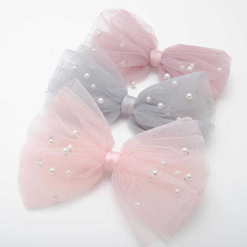 1 Piece 5CM Gauze Hair Clips Imitation Pearl Hair Bows Hairpins Lace Bowknot Hairgrips Princess   Headwear   Hair Accessories