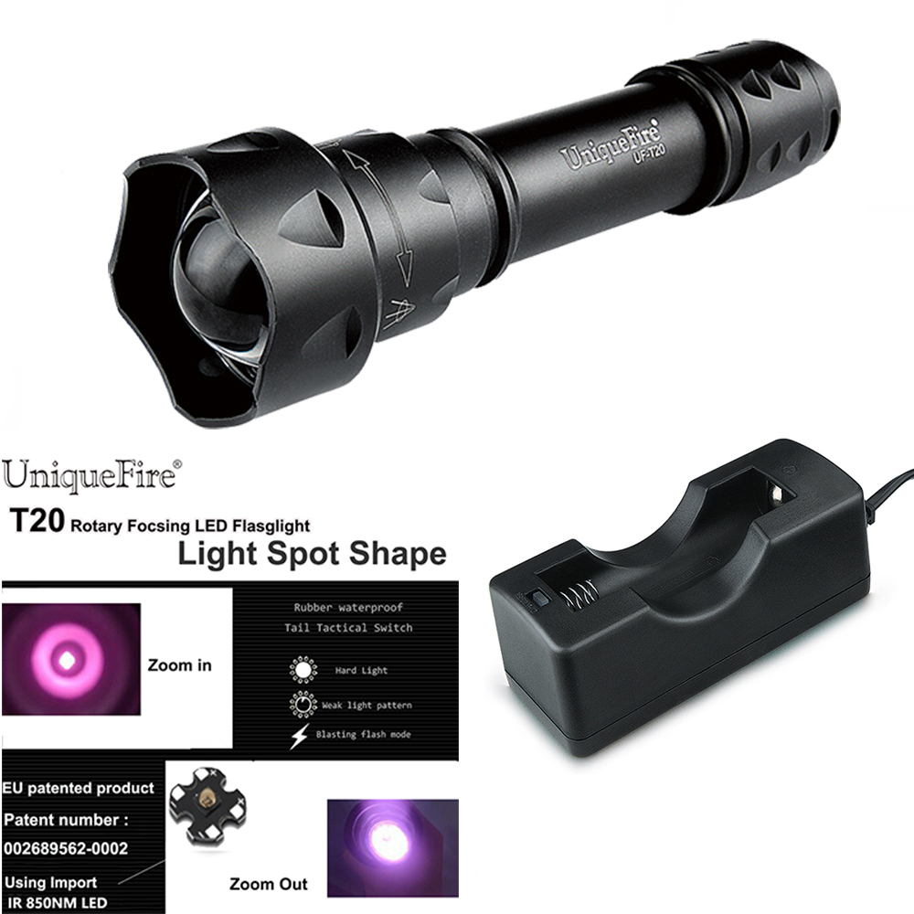 UniqueFire NIGHT-SCOUT Flashlight UF-T20 IR850nm Led Lamp Beads 3 Mode Infrared Flashlight Torch f.18650 Battery scout nano exclusive