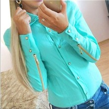2018 New Fashion Autumn Zipper Sleeve For Women Blue  White Blouses & Shirts