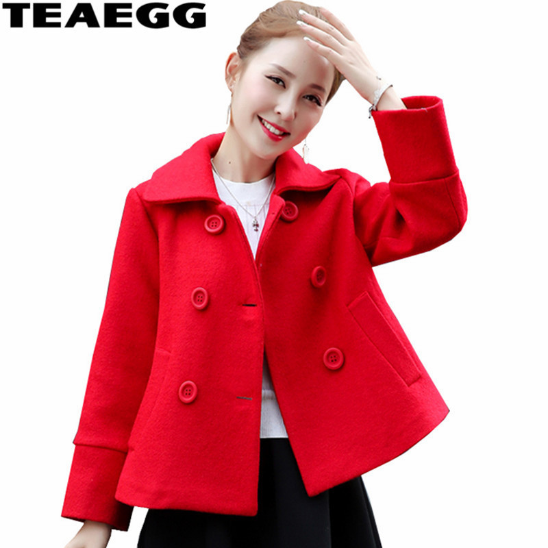 TEAEGG Elegant Short Red Coat Women Jacket Outwear Chaqueton Mujer Women Wool Coat Winter Parkas Abrigos Invierno Mujer AL582