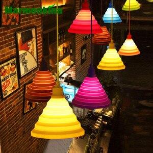 Marmenkina, luces colgantes de silicona coloridas DIY, lámparas colgantes plegables/plegables E27 para el hogar, Bar, habitación de los niños, ventana