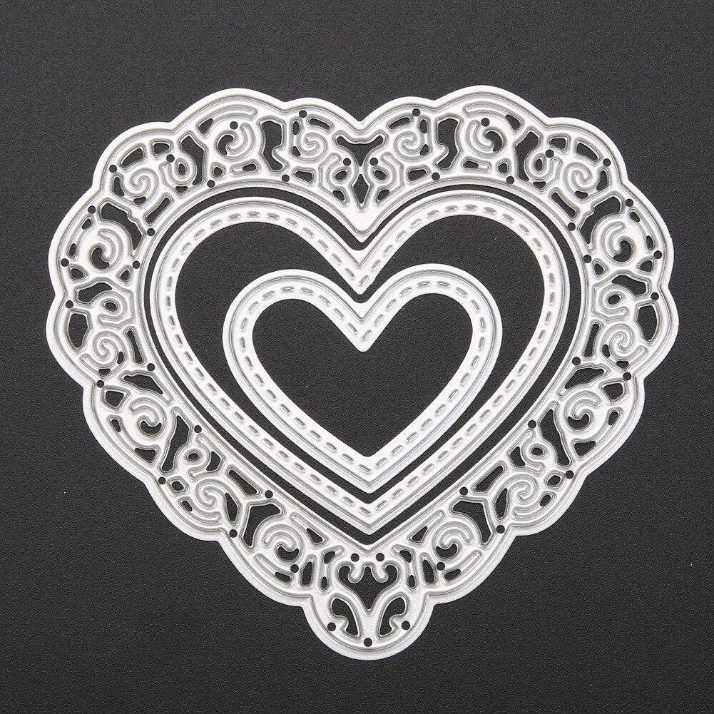 Scrapbook paper decor - 3 Pcs Love Heart Metal Cutting Dies Stencils Template For Diy Scrapbooking Paper Card Photo Album