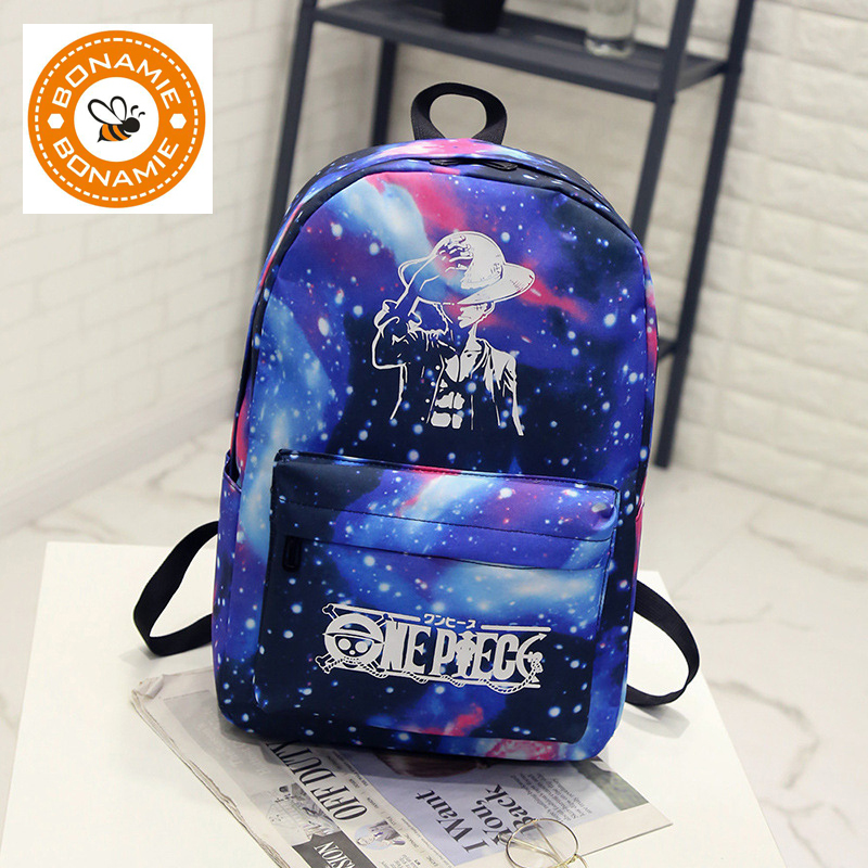 BONAMIE Night Light Cool Backpack Canvas Backpacks School Bags For Teenager Girls Boys Book Bag One Piece Starry Sky Backpack