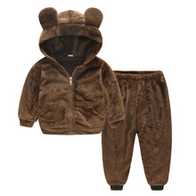 Warm Windproof Wool Kids Clothes Set Baby Boys Girls 2-Piece Clothing Children Outerwear Hooded and Pant For 1-4 Years Old все цены