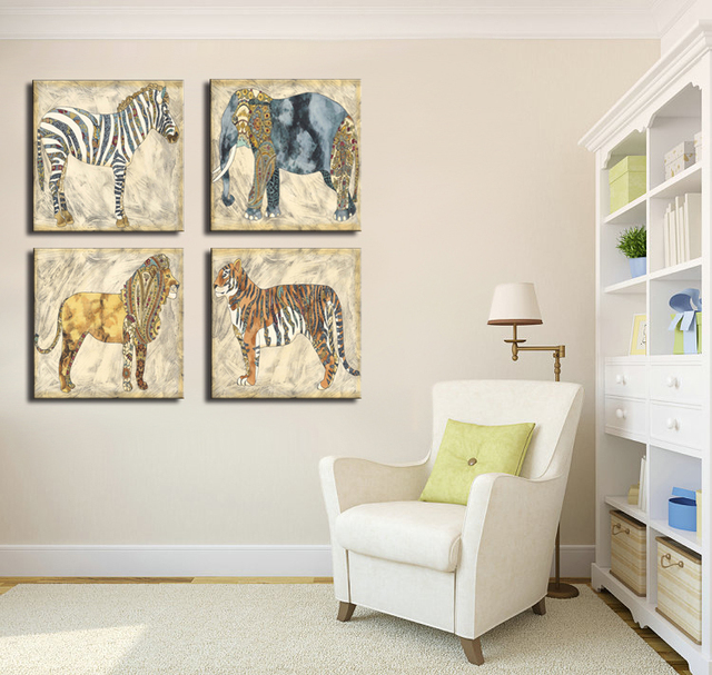 4 Pieces Oil Spray Kids Room Decoration Nordic Wall Art Canvas Picture  Prints Zebra Elephant Lion