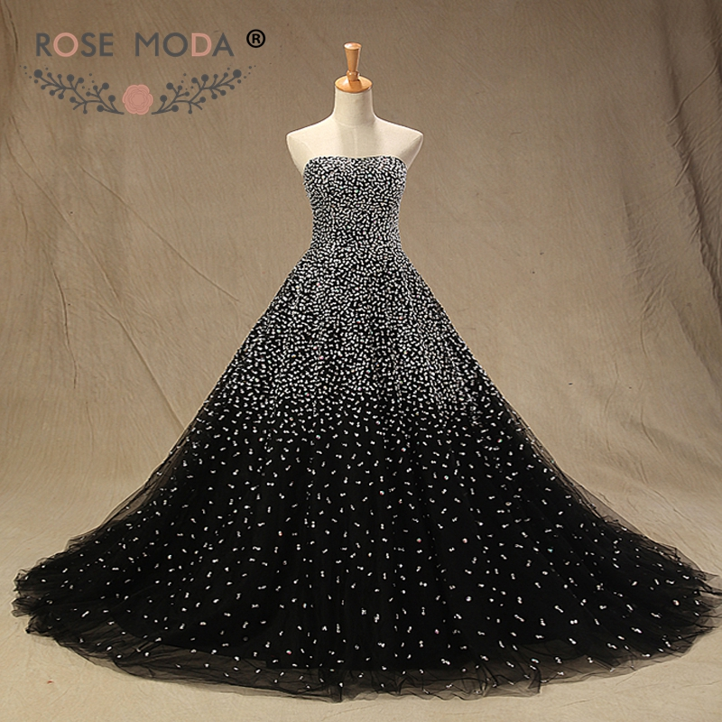 Rose Moda Luxury Crystal Black Prom Dress with Train Strapless Beaded Prom Dresses with Ball Skirt Long Party Dress 2019