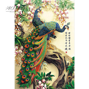 Image 1 - Michelangelo Wooden Jigsaw Puzzles 500 1000 Piece Chinese Old Master Auspicious Peacock Educational Toy Decorative Wall Painting