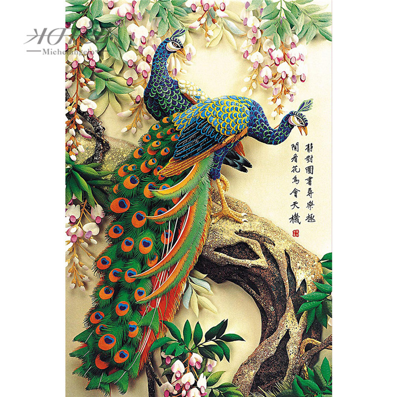 Michelangelo Wooden Jigsaw Puzzles 500 1000 Piece Chinese Old Master Auspicious Peacock Educational Toy Decorative Wall Painting